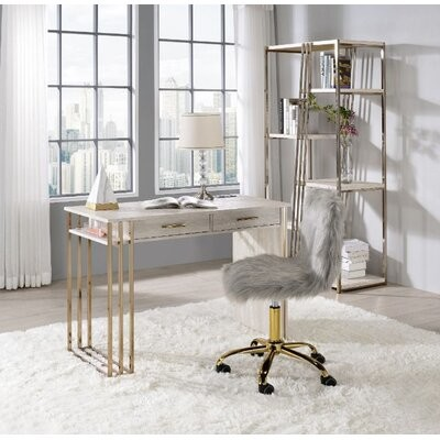 Thumbnail for your product : Everly Quinn Built-In USB Port Writing Desk, Antique White & Gold Finish