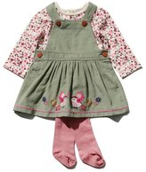 M&Co Bird applique pinafore top and tights set