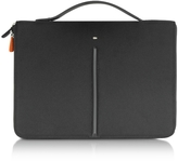 "Giorgio Fedon Web File 2 Black Leather and Nylon 13"" Laptop Case"