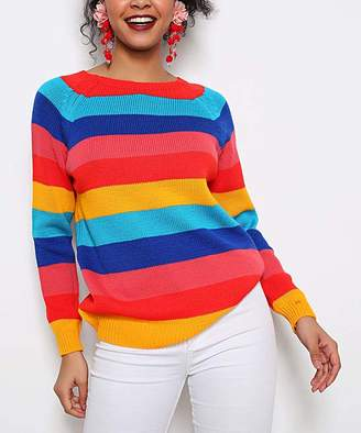 Misell Women's Pullover Sweaters RED - Red Dolman Textured-Stripe Wool-Blend Sweater Dress - Women
