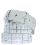 NYfashion101 3 Row Pyramid Studded Punk Rock Faux Leather Belt - All White -M