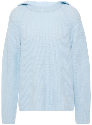Vince Ribbed Wool And Cashmere-blend Hooded Sweater