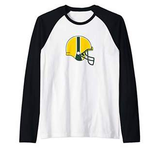 American Football Helmet Team Colors Tee - Yellow Green Raglan Baseball Tee