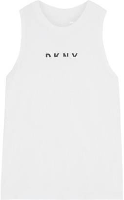 DKNY Printed Stretch-cotton And Modal-blend Tank