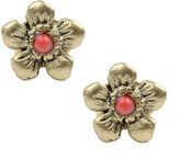Antique Brass With Coral Bead Detail Floral Stud Earrings (+)