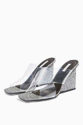 Topshop RACY Silver Glitter Wedges