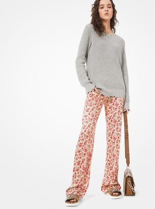 Michael Kors Floral Crushed Satin Jacquard Pajama Pants