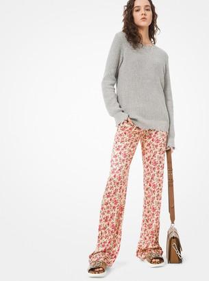 Michael Kors Floral Crushed Satin Jacquard Pajama Pants