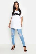 boohoo Maternity 5 Pocket Ripped Over The Bump Jeans