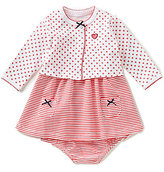 Little Me Baby Girls 3-12 Months Heart & Dotted Cardigan and Striped Dress Set