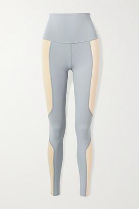 Live The Process Geometric Two-tone Stretch-supplex Leggings - Blue