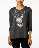 Style&Co. Style & Co. Deer Graphic Crochet-Trim Top, Only at Macy's