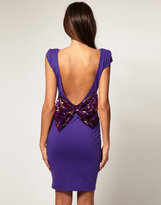 Paprika Body-Conscious Dress With Sequin Bow