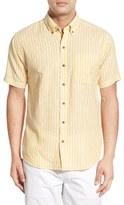 Cutter & Buck Men's Big & Tall 'Gulf Stripe' Classic Fit Linen & Cotton Sport Shirt