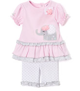 Baby Essentials Pink Ruffle-Trim Elephant Appliqué Top & Pants