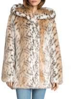 AVEC LES FILLES Hooded Faux Fur Coat