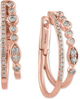 Effy Pavé Rose by Diamond Double Hoop Earrings (1/2 ct. t.w.) in 14k Rose Gold
