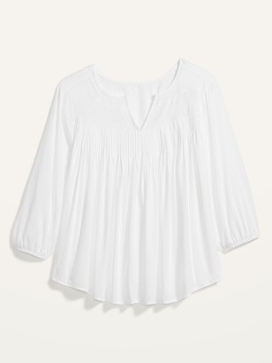 Old Navy Oversized Lace-Trim Pintucked Plus-Size Blouse