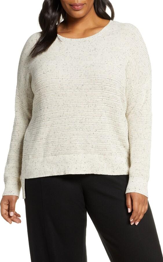 Eileen Fisher Waffle Weave Step Hem Cotton Blend Sweater