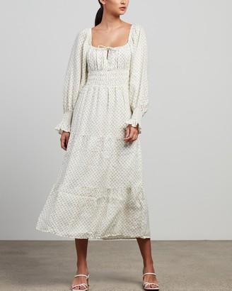 Faithfull The Brand Women's White Long Sleeve Dresses - Dariya Midi Dress - Size 6 at The Iconic