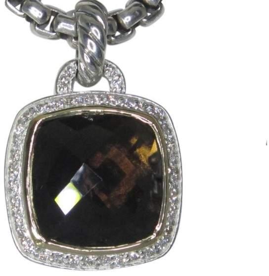 David Yurman 18K & Sterling Silver Albion Smoky Quartz Diamond Pendant