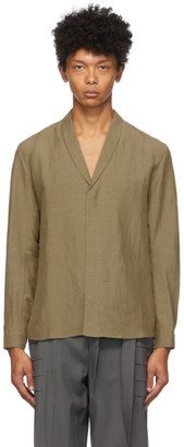 Vejas Brown Silk and Linen Shawl Collar Shirt
