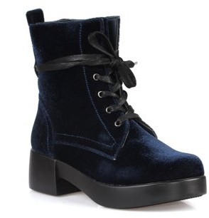 Nature Breeze Velvet Combat Women's Boot in Navy
