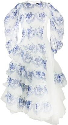 Simone Rocha Floral-Print Tulle Ruffle Dress