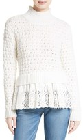 Rebecca Taylor Women's Eyelet Mock Neck Sweater