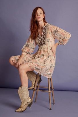 Velvet by Graham & Spencer Tawni Cleo Print Beaded Peasant Dress