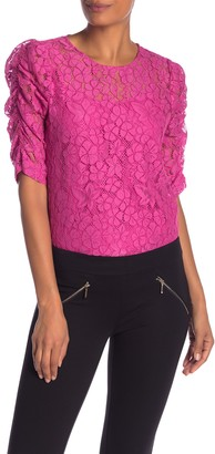 Nanette Nanette Lepore Lace Shirred Elbow Sleeve Top