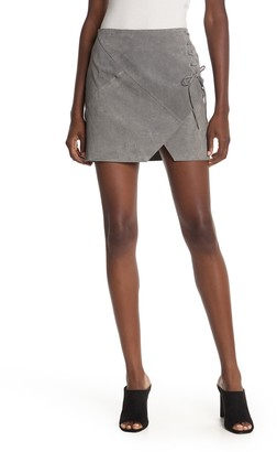 Blanknyc Denim Lace-Up Suede Mini Skirt