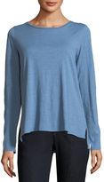 Eileen Fisher Long-Sleeve Slubby Organic Cotton Jersey Tee