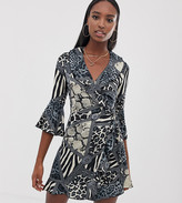 Outrageous Fortune Tall ruffle wrap mini dress with fluted sleeve in multi print