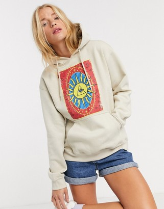 Daisy Street relaxed hoodie with tarot print in beige