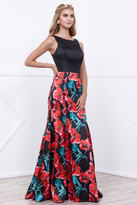 Nox Anabel Sleeveless Semi-Mermaid Long Black Prom Dress with Floral Print