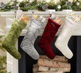 Pottery Barn Shiny Velvet Quilted Stockings