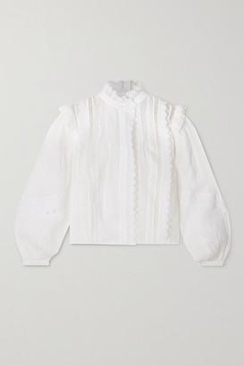 Frame Natalie Crochet-trimmed Ramie Blouse - White