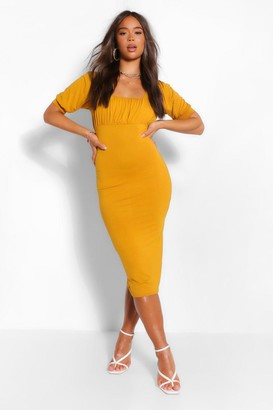boohoo Square Neck Rouched Bust Midi Dress