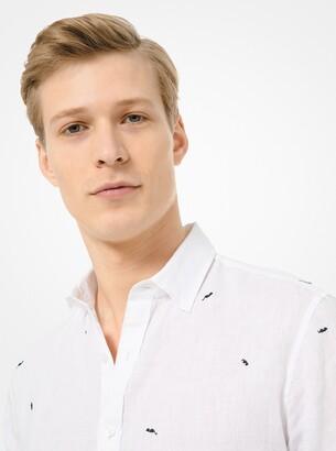 Michael Kors Sunglass-Print Linen Short-Sleeve Shirt