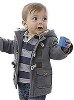 JELEUON Kids Baby Boys Winter Cotton Blend Hooded Duffle Coat Toggle Coat 80cm