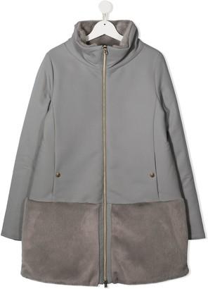 Herno TEEN faux-fur panel coat