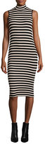 ATM Anthony Thomas Melillo Sleeveless Striped Stretch Jersey Dress, Pink/Black