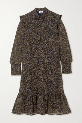 By Malene Birger Zillow Ruffled Leopard-print Georgette Midi Dress - Army green