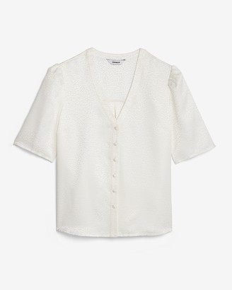 Express Satin Jacquard Puff Sleeve Shirt