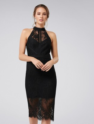 Forever New Lena High Neck Lace Bodycon Dress - Black - 4
