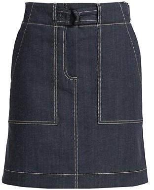 Akris Punto Denim Stitched Skirt