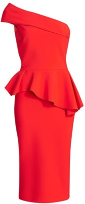 Chiara Boni Jessie One-Shoulder Peplum Sheath Dress