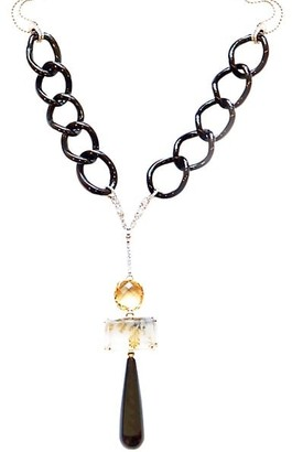 Sharon Khazzam Baby Platinum, 18K Yellow Gold & Multi-Stone Y Necklace
