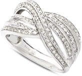 Macy's Diamond Crossover Ring in 14k White Gold (1/2 ct. t.w.)